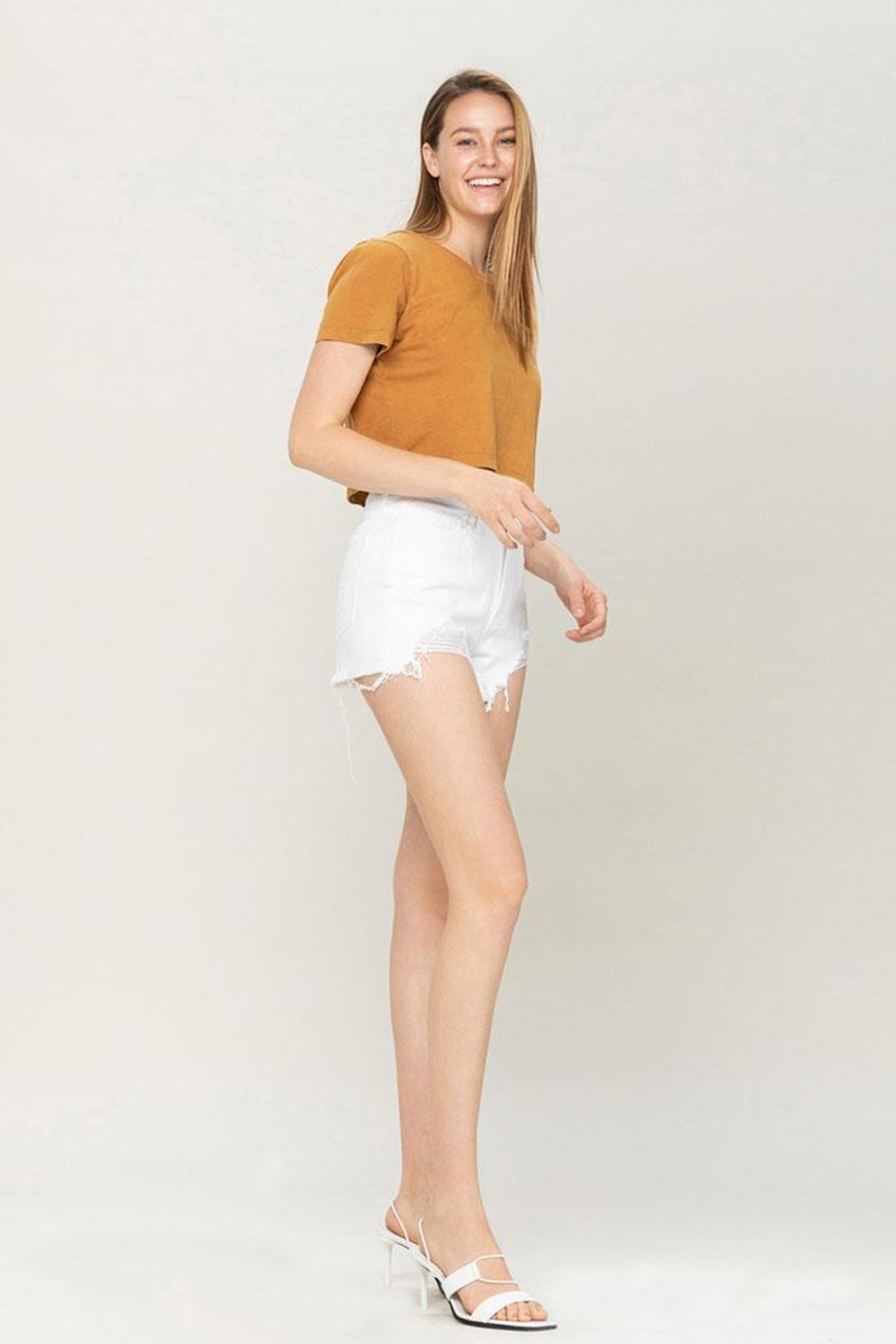 Vervet High-Rise Distressed Shorts - Side Cropped Image
