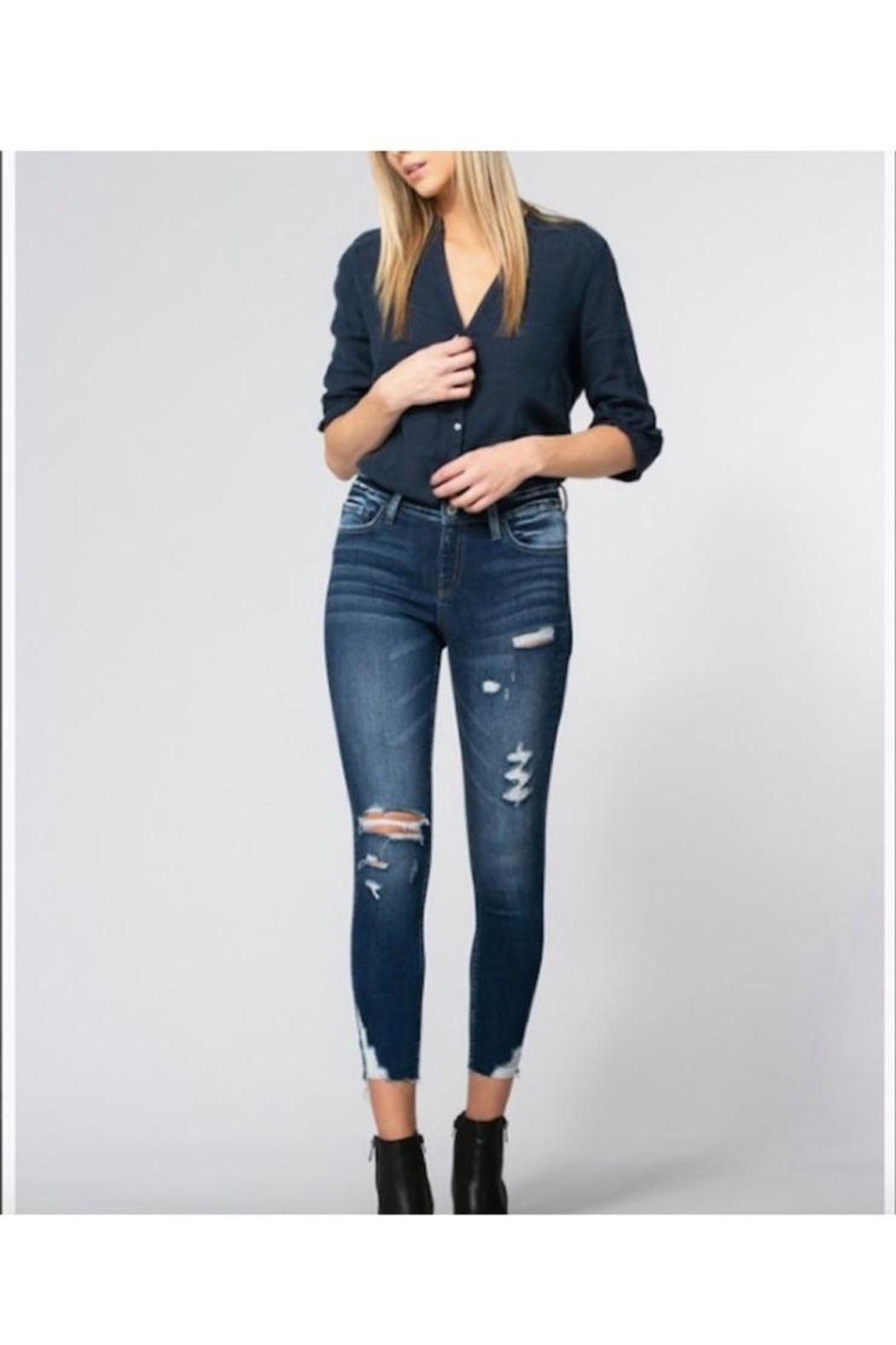 Vervet Mid Rise Distressed Clean Cut Crop Skinny - Front Cropped Image