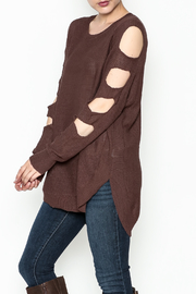 Very J Cutout Sleeve Sweater - Front cropped
