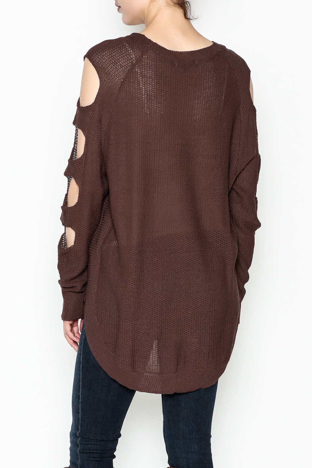 Very J Cutout Sleeve Sweater - Back Cropped Image