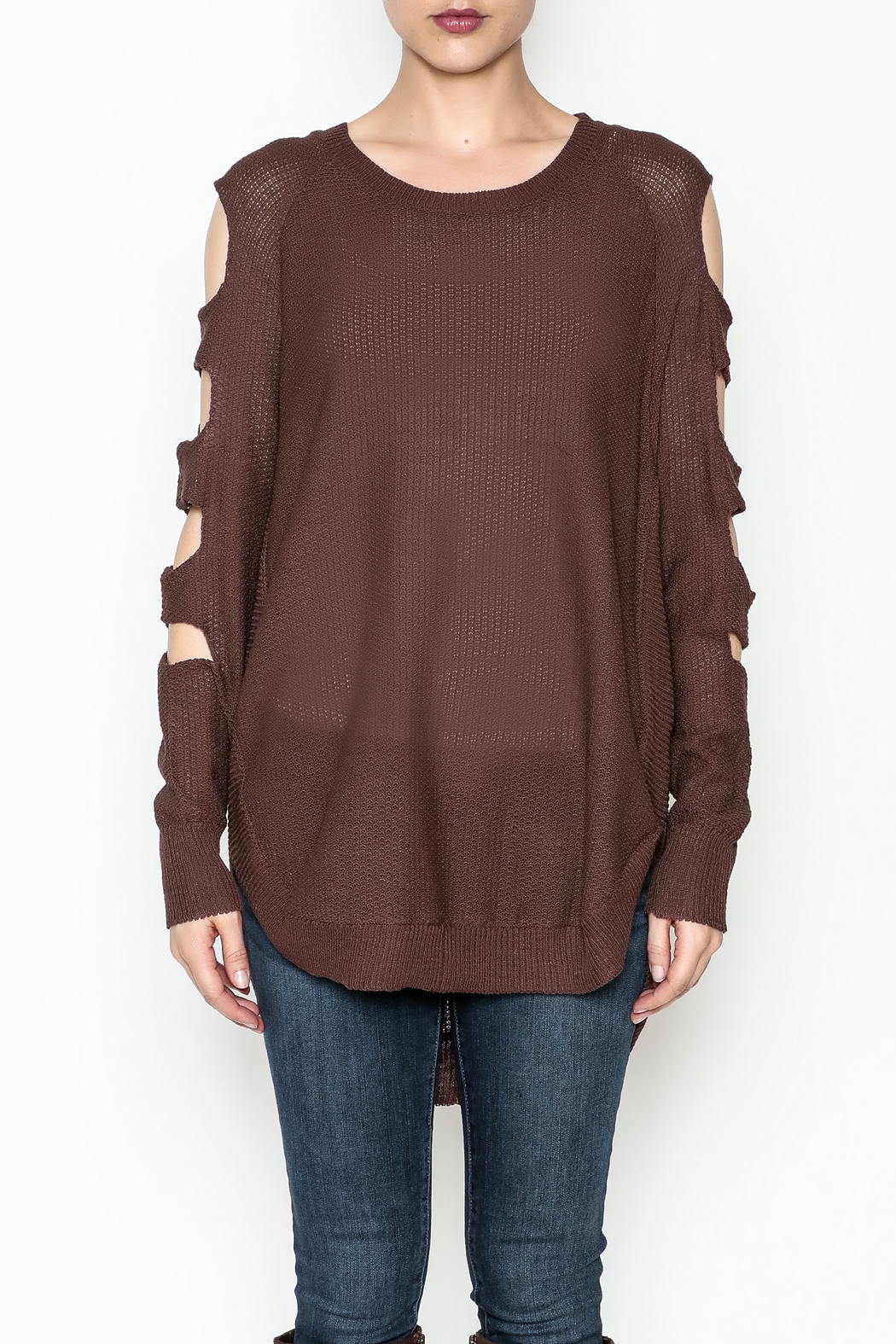 Very J Cutout Sleeve Sweater - Front Full Image