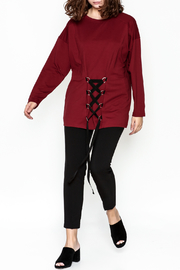 Very J Drawstring Accent Top - Side cropped