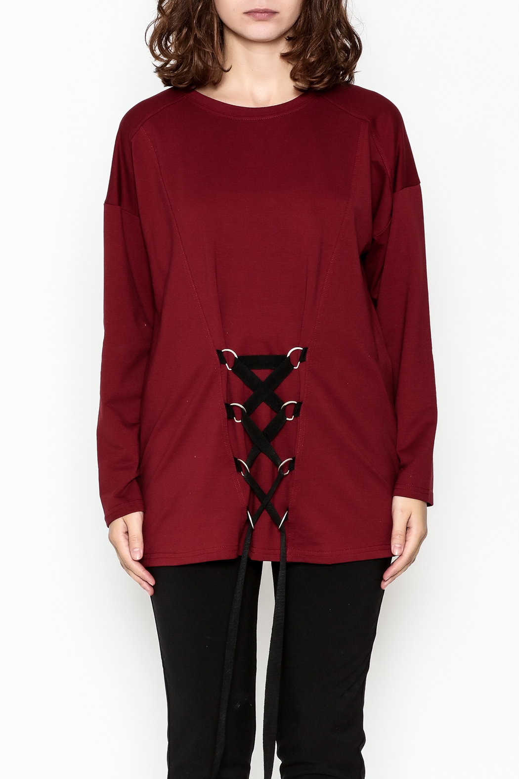 Very J Drawstring Accent Top - Front Full Image