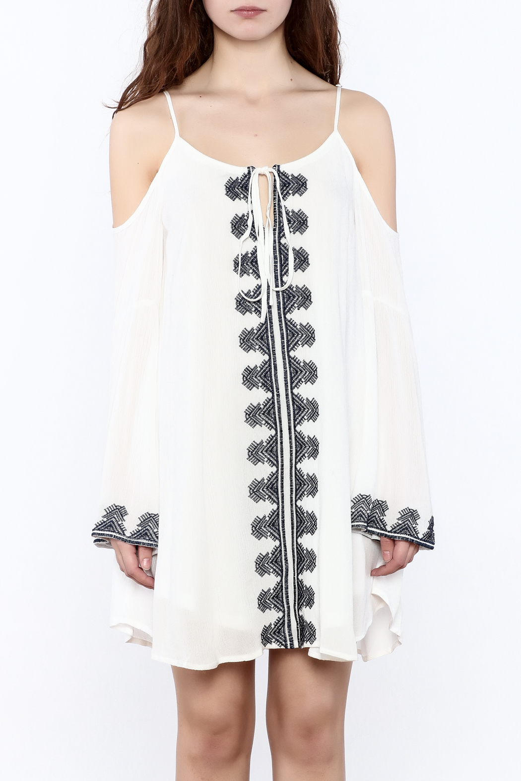 Very J Embroidered Loose Dress - Side Cropped Image