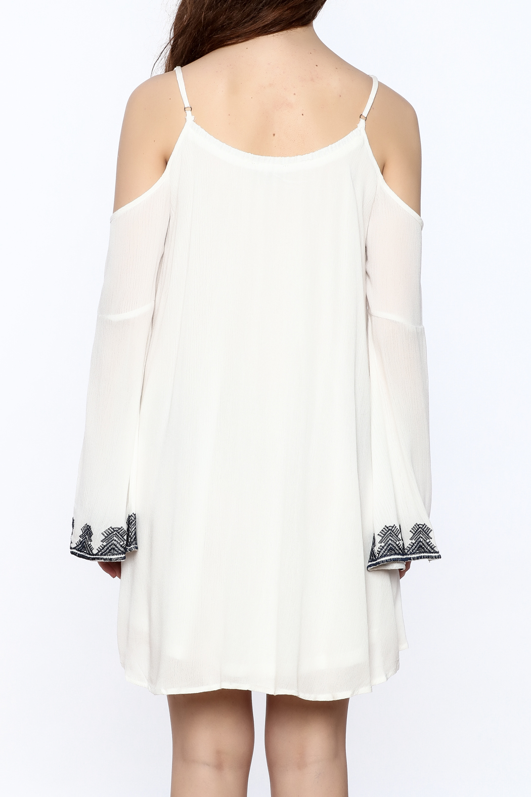 Very J Embroidered Loose Dress - Back Cropped Image