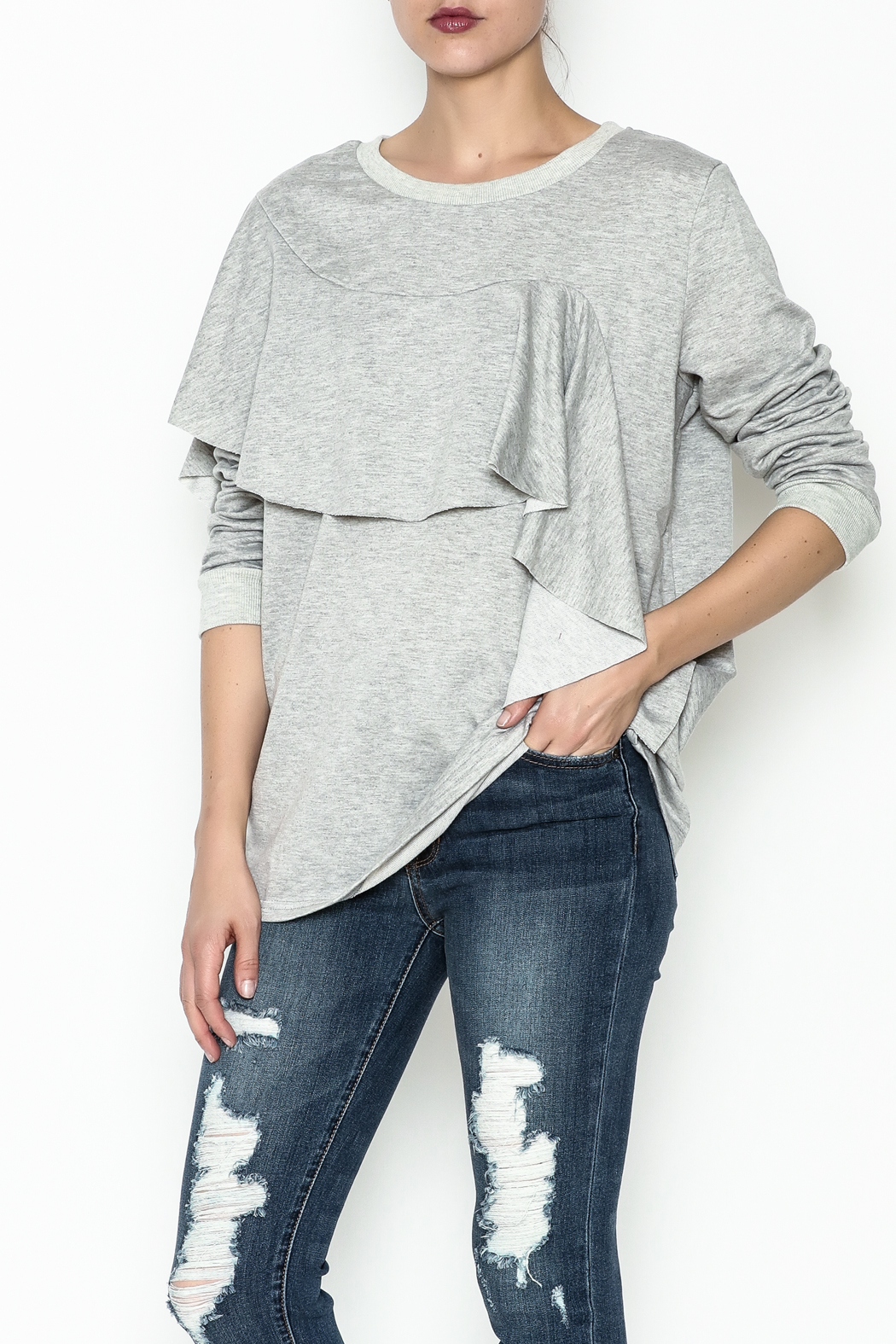 Very J Lightweight Cotton Sweater - Front Cropped Image