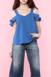 Very J Ruffle Sleeve Cold Shoulder Blouse - Front cropped