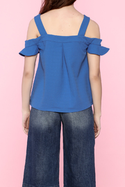 Very J Ruffle Sleeve Cold Shoulder Blouse - Back cropped