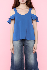 Shoptiques Product: Ruffle Sleeve Cold Shoulder Blouse - Other
