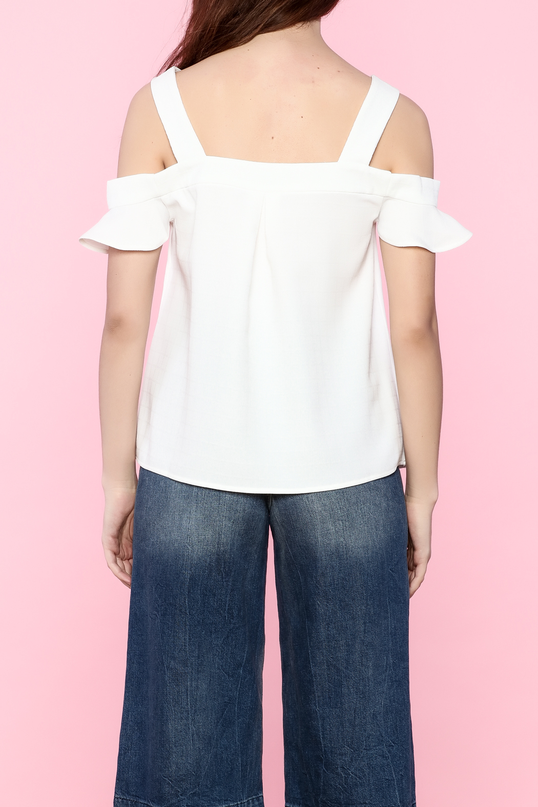 Very J Ruffle Sleeve Cold Shoulder Blouse - Back Cropped Image