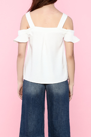 Shoptiques Product: Ruffle Sleeve Cold Shoulder Blouse - Back cropped