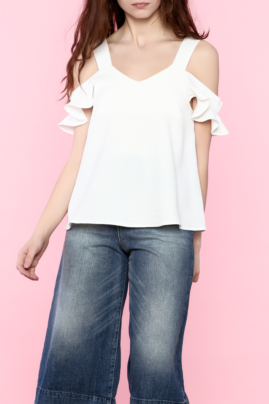 Very J Ruffle Sleeve Cold Shoulder Blouse - Front Cropped Image