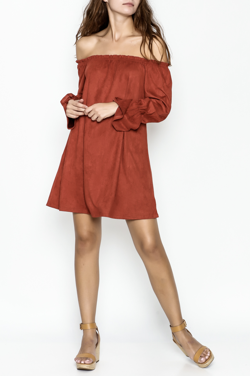 Very J Rust Bell Sleeve Dress - Side Cropped Image