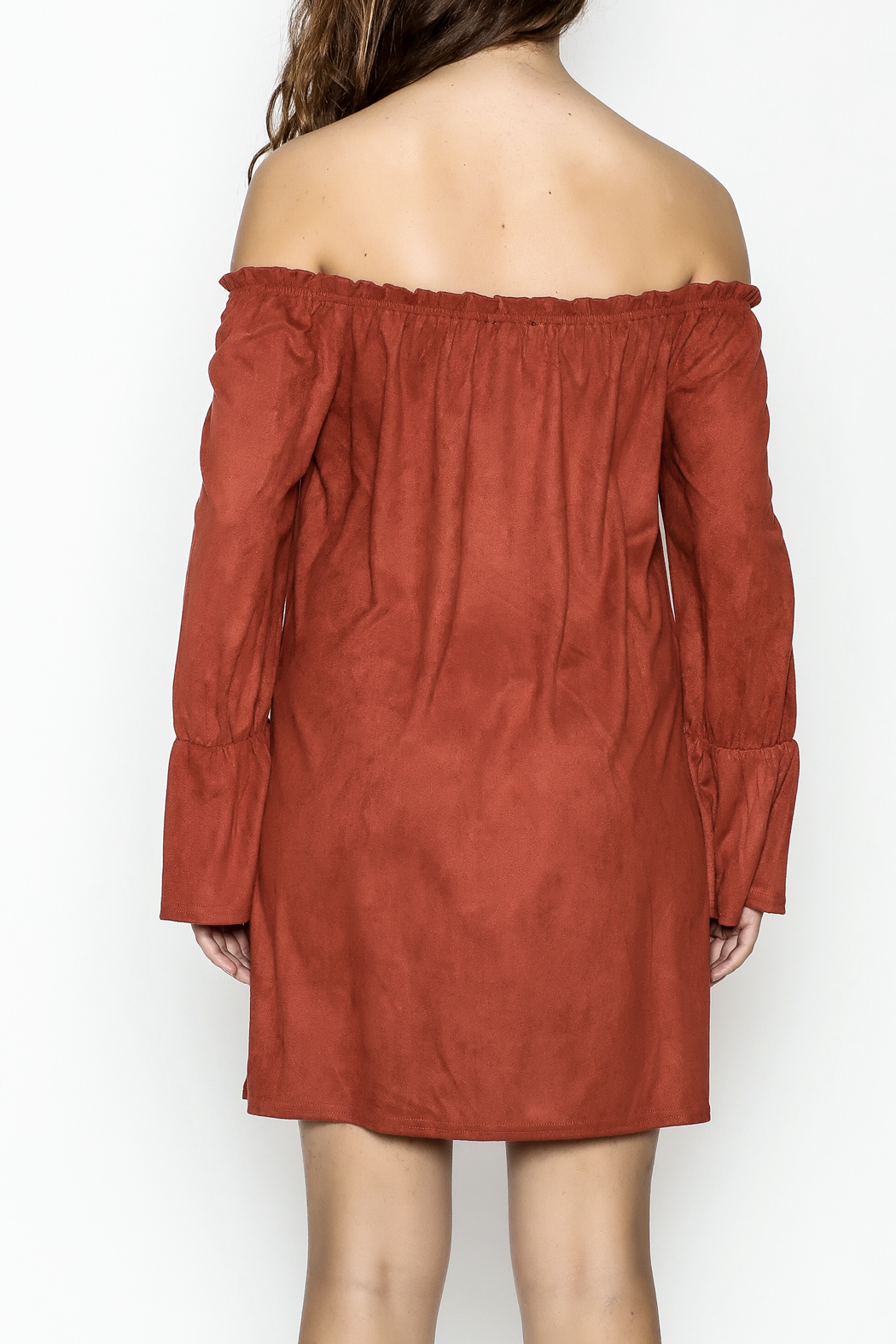 Very J Rust Bell Sleeve Dress - Back Cropped Image