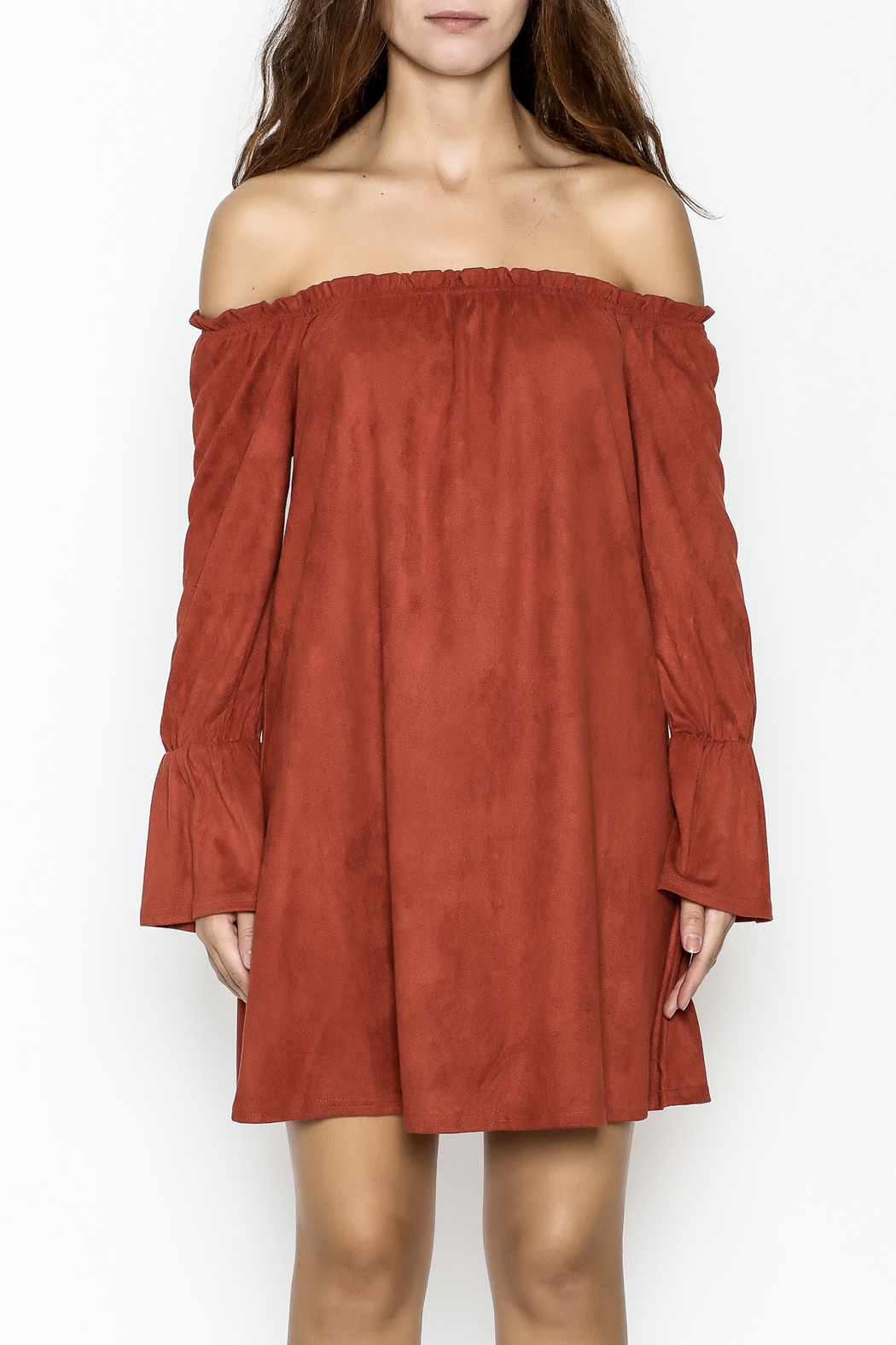 Very J Rust Bell Sleeve Dress - Front Full Image