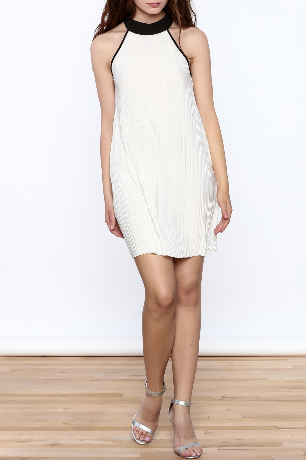 Very J Pleated Halter Dress - Front Full Image