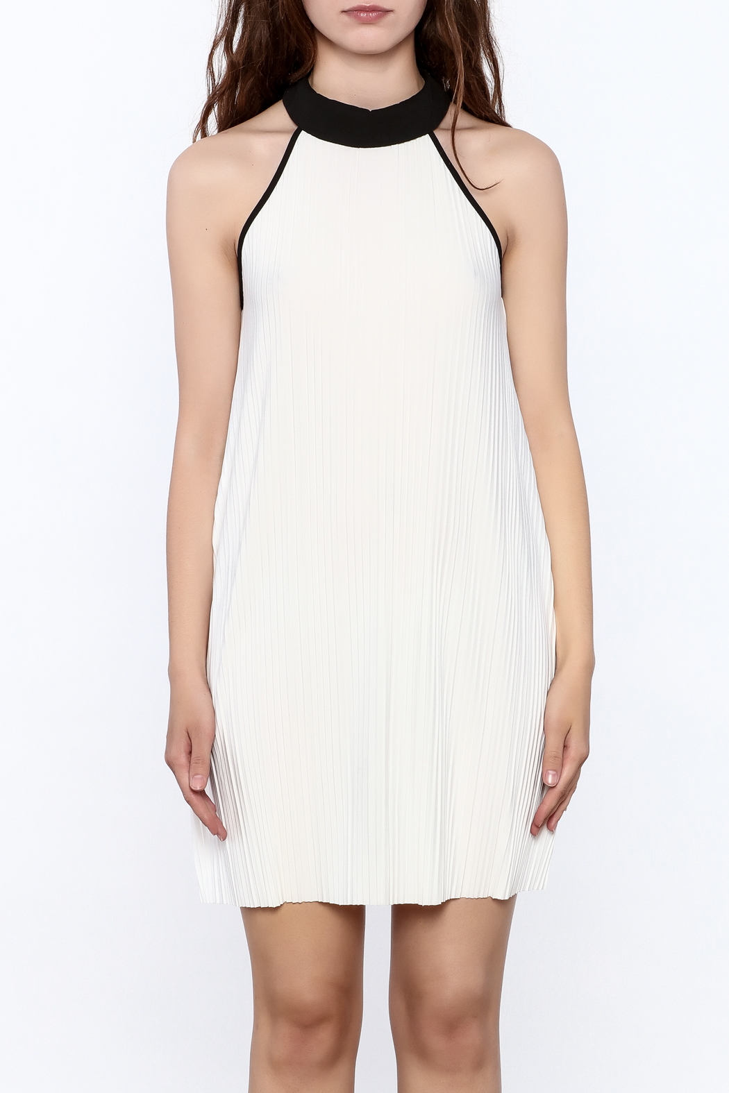Very J Pleated Halter Dress - Side Cropped Image