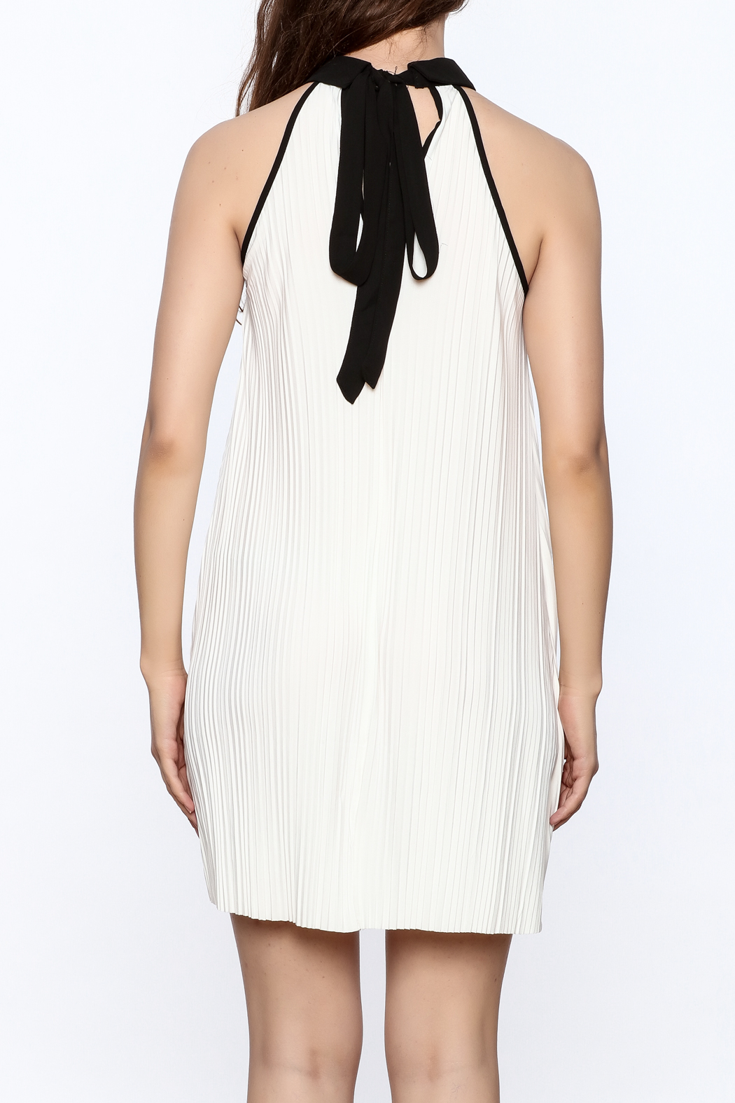 Very J Pleated Halter Dress - Back Cropped Image