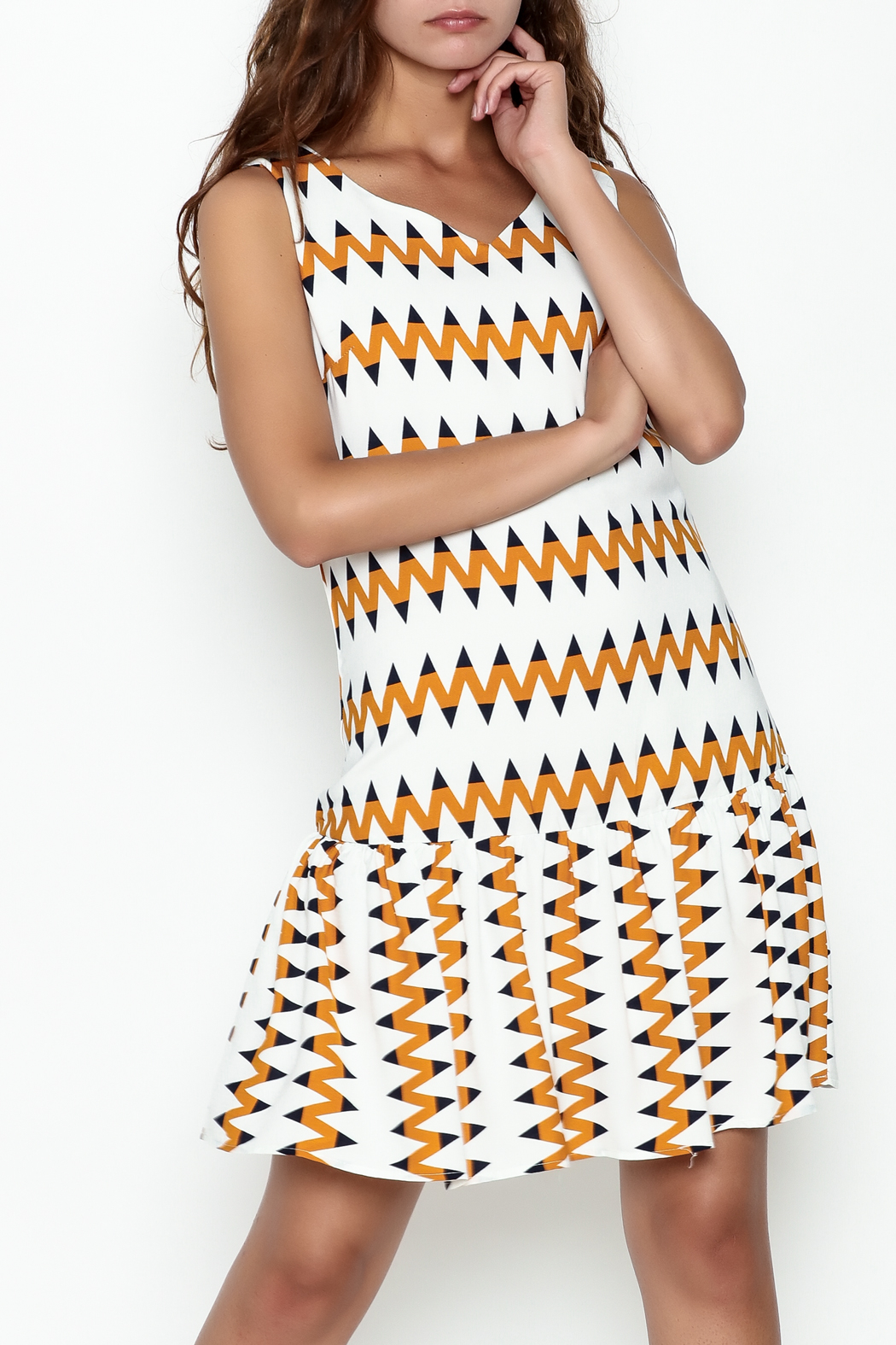 Very J Zig Zag Dress - Front Cropped Image