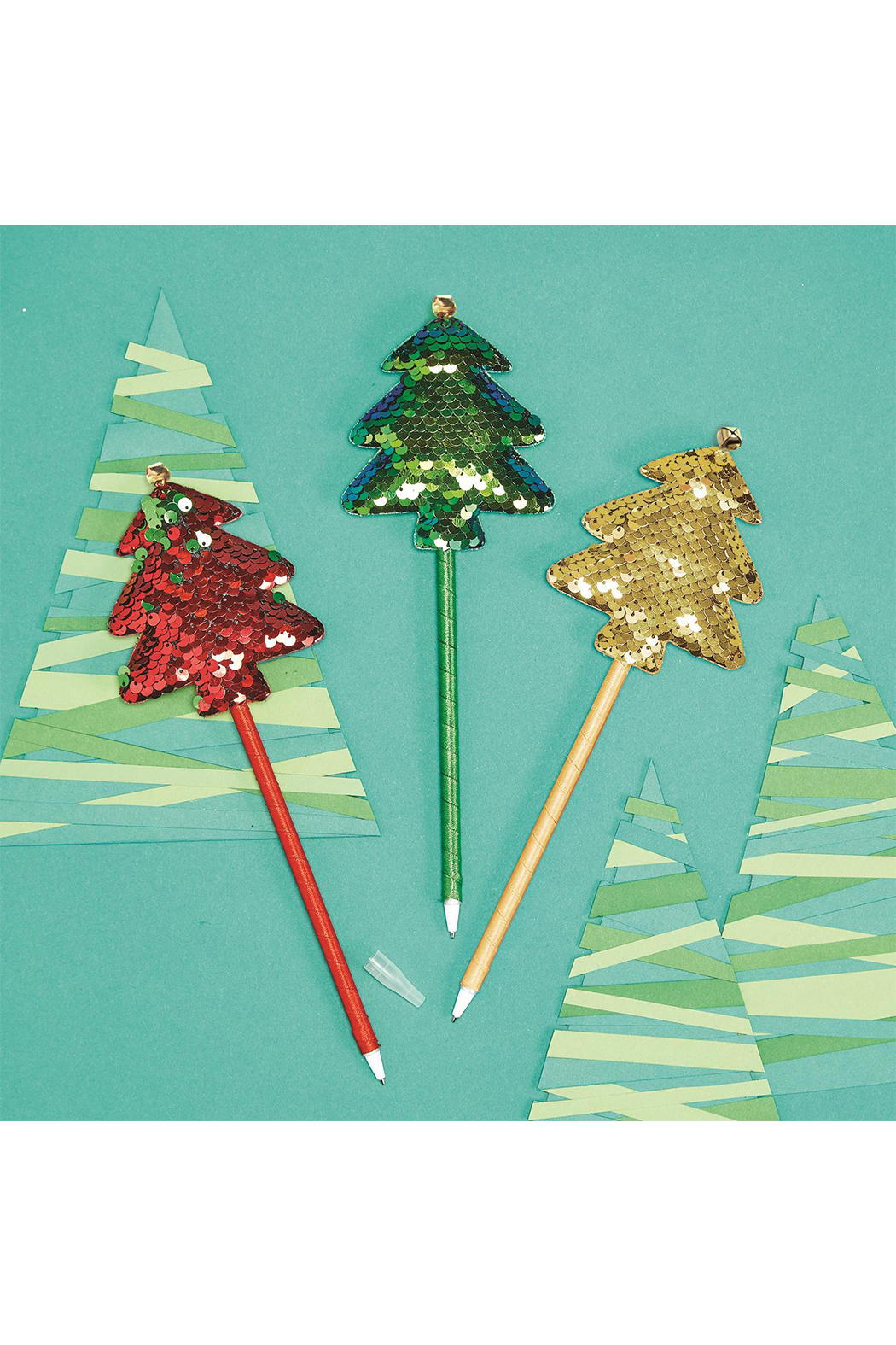 Cupcakes and Cartwheels Very Merry Color-Changing Sequin Tree Pen - Front Cropped Image