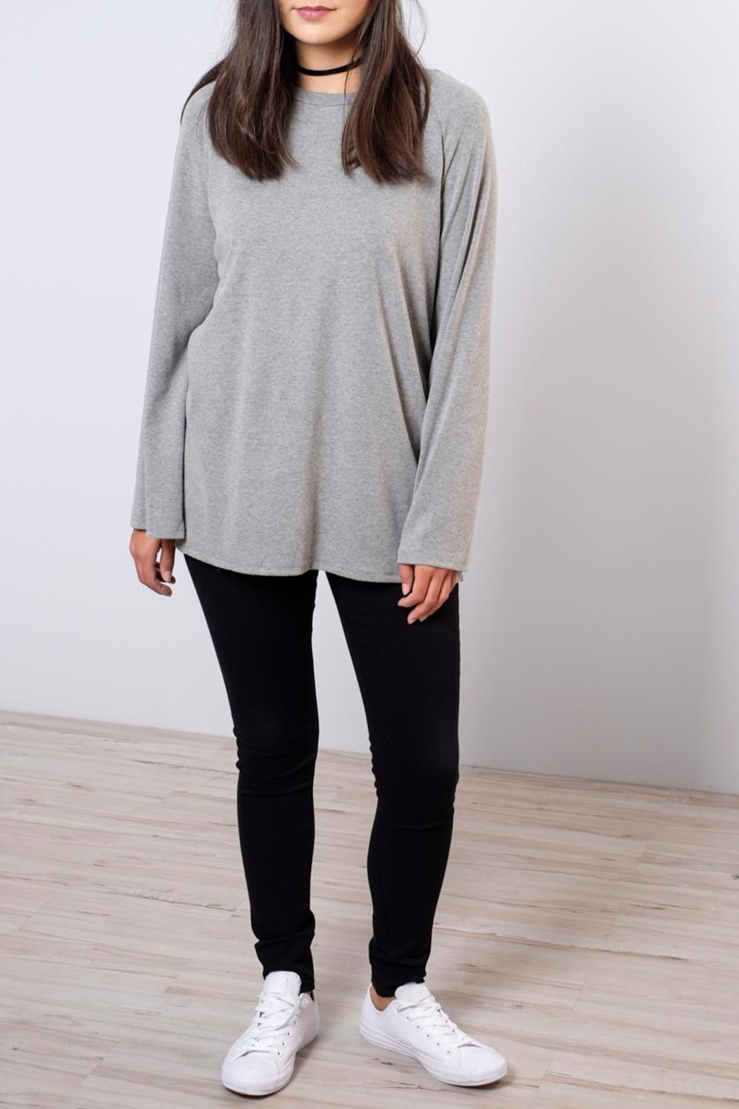 Very J Bell Sleeved Sweatshirt - Front Cropped Image