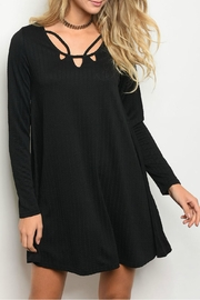 Very J Black Detailed Dress - Front cropped