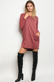 Very J Burgundy Dress - Front cropped
