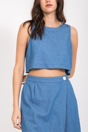 Very J Button Back Crop-Top - Front cropped