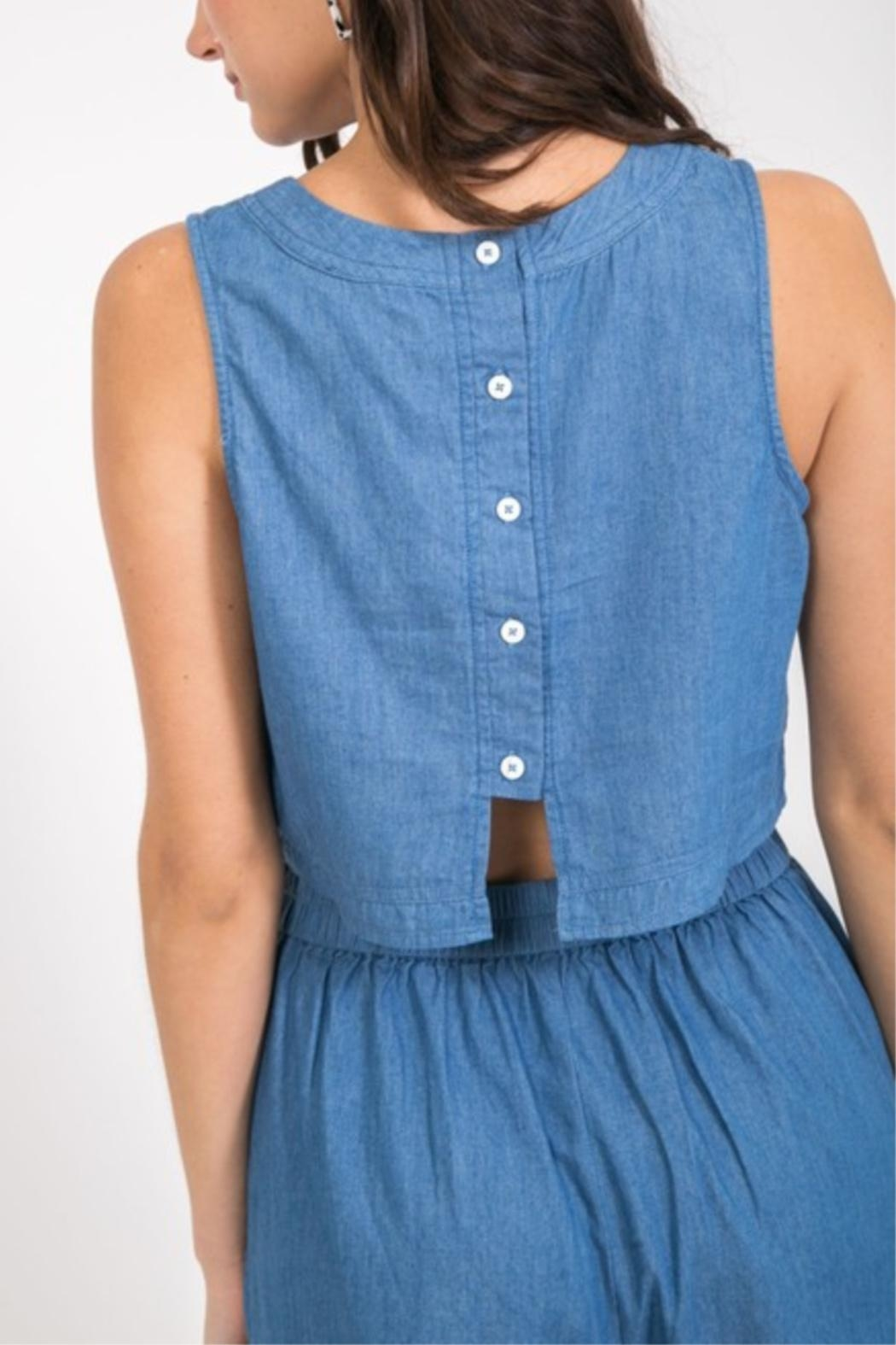Very J Button Back Crop-Top - Front Full Image