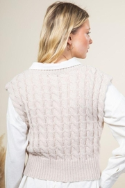 Very J Cable Knit Cropped Sweater Vest - Back cropped