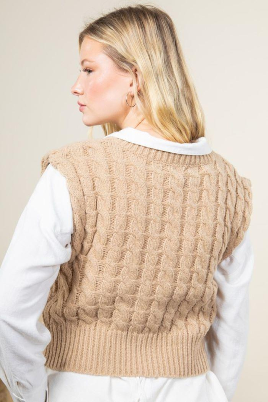 Very J Cable Knit Cropped Sweater Vest - Front Full Image