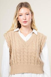 Very J Cable Knit Cropped Sweater Vest - Side cropped