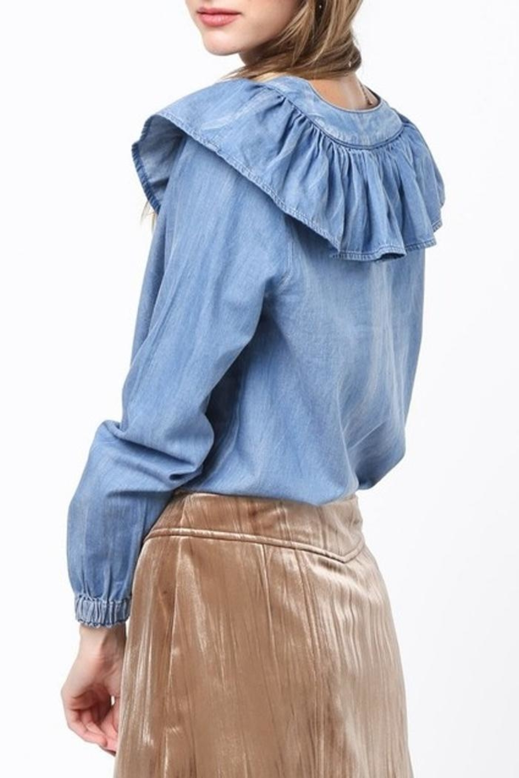 Very J Chambray Ruffle Top - Side Cropped Image