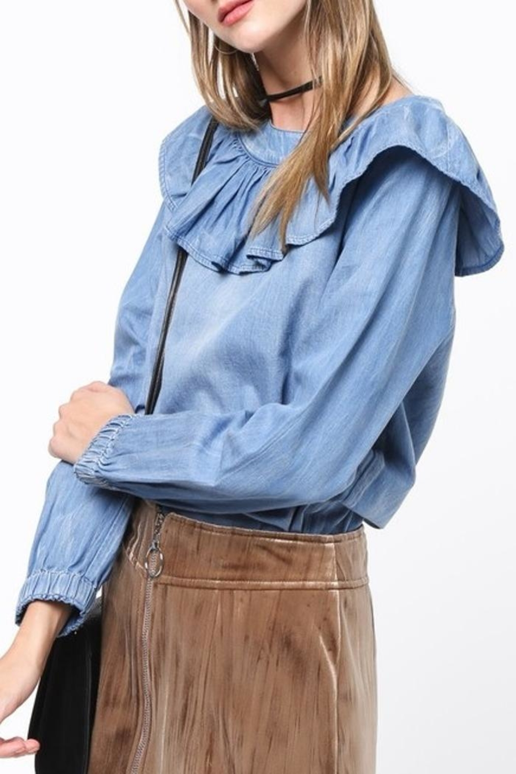 Very J Chambray Ruffle Top - Main Image