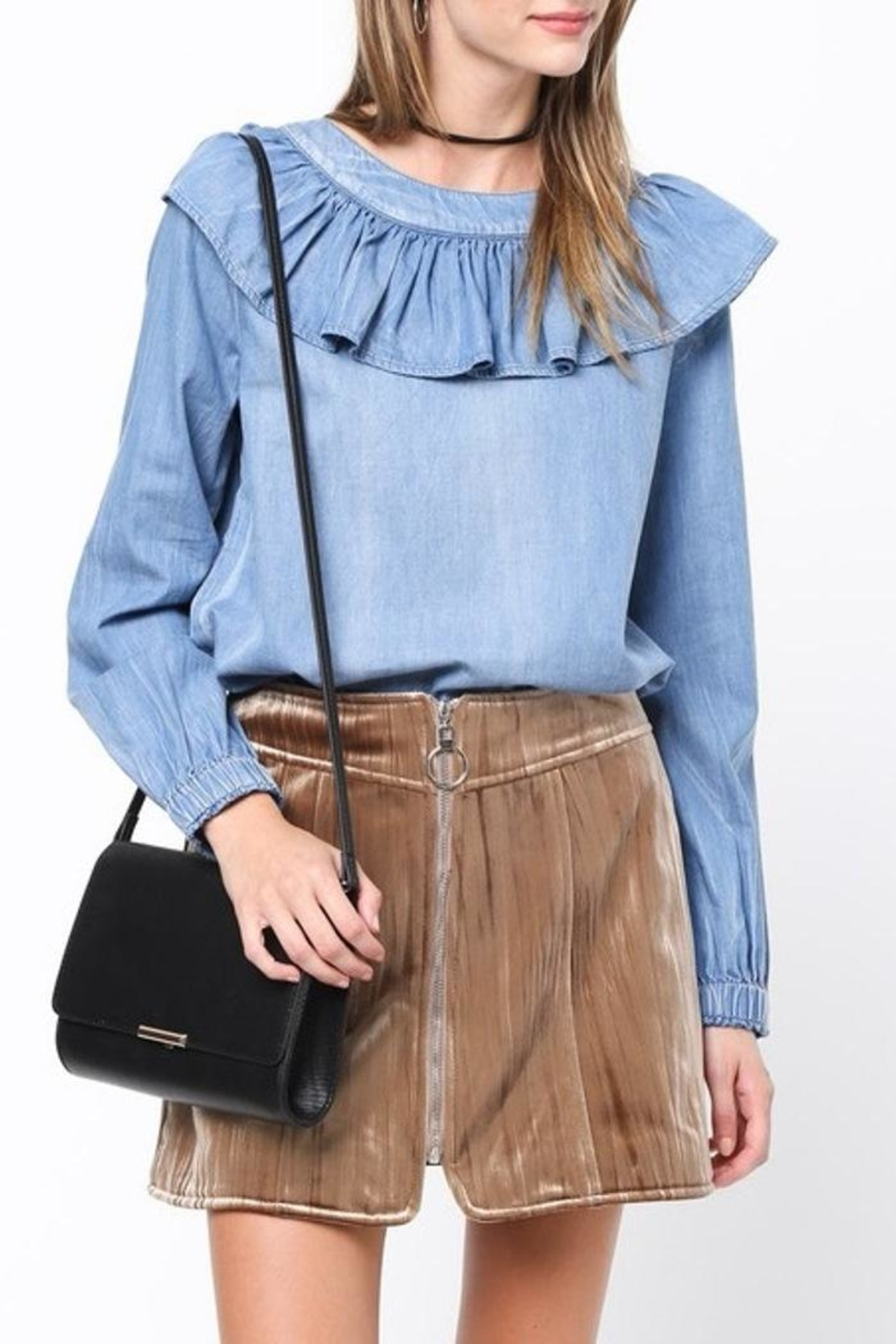 Very J Chambray Ruffle Top - Front Full Image