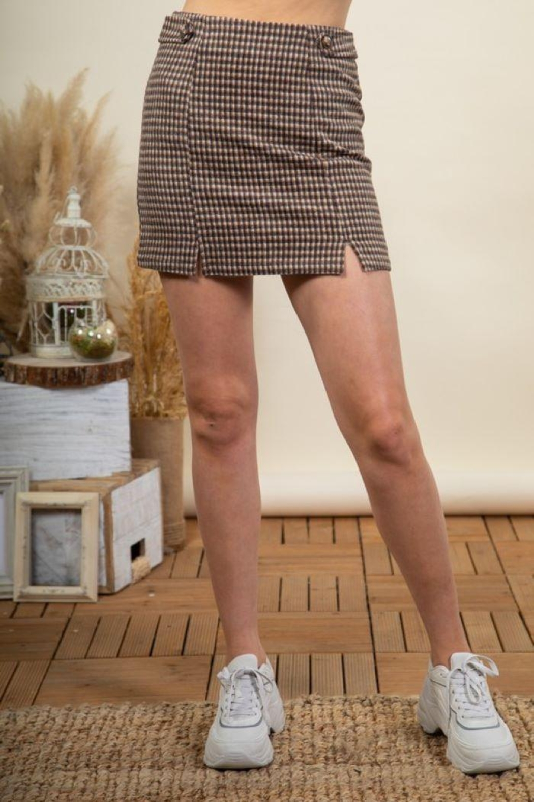 Very J Check Pattern Mini Skirt - Front Cropped Image
