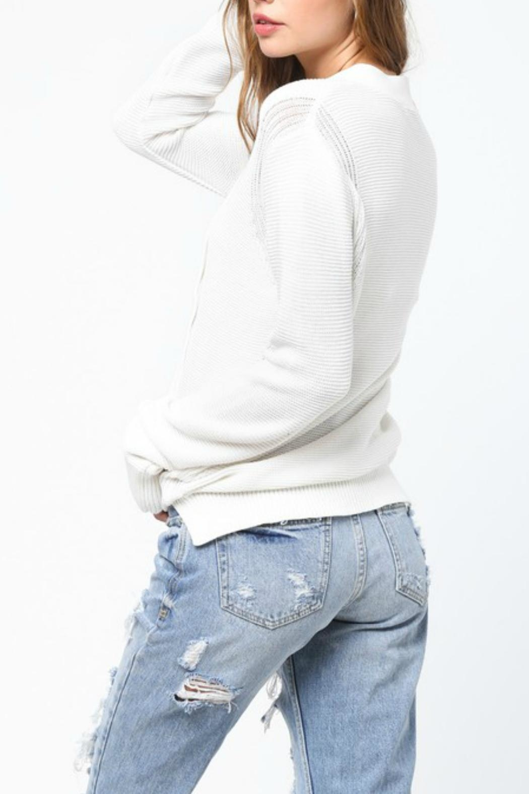 Very J Cream Lace Up Sweater - Front Full Image