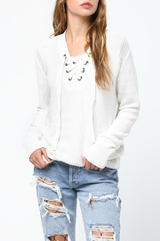 Very J Cream Lace Up Sweater - Product Mini Image