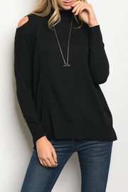 Very J Cutout Shoulder Sweater - Front cropped