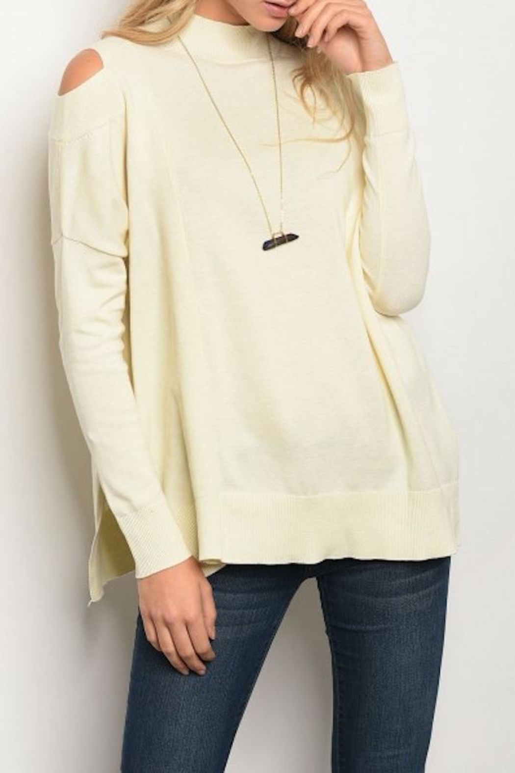 Very J Cutout Shoulder Sweater - Main Image