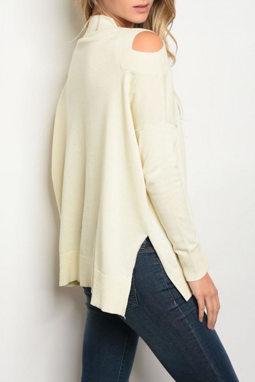 Very J Cutout Shoulder Sweater - Front Full Image