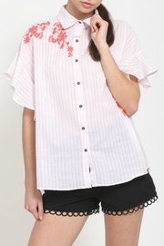 Very J Embroidered Stripe Top - Product Mini Image