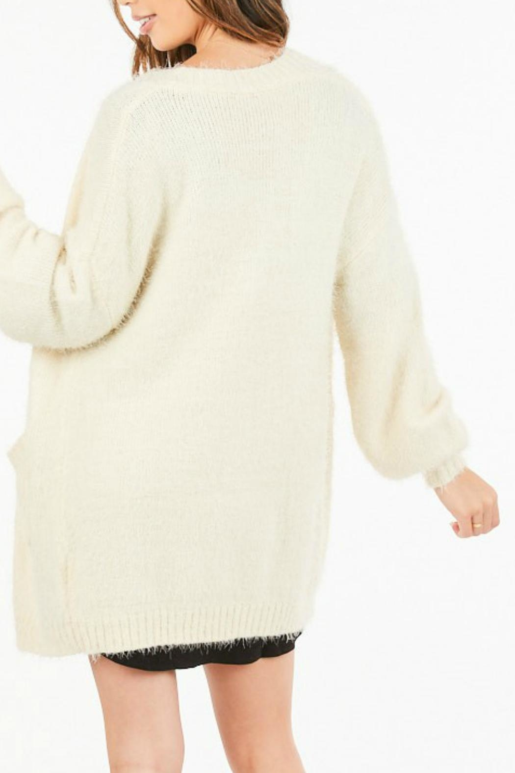 Very J Fuzzy Knit Cardigan - Front Full Image