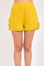 Very J Linen Ruffle Shorts - Front cropped