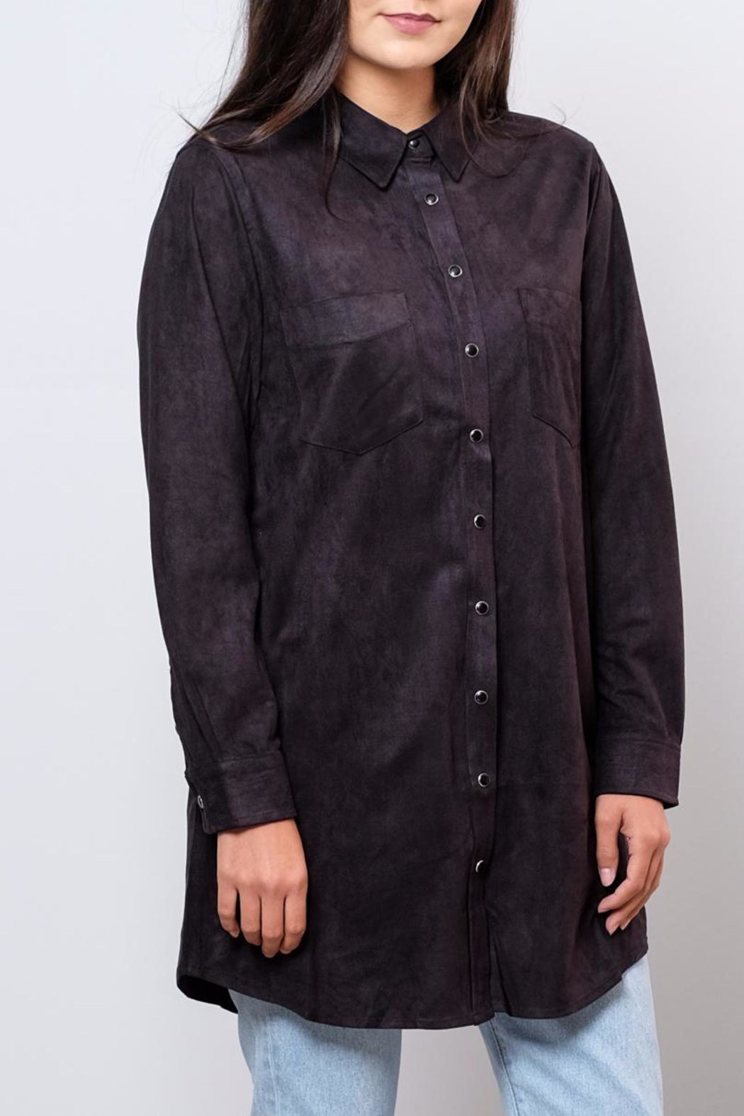 Very J Long Suede Shirt - Front Full Image