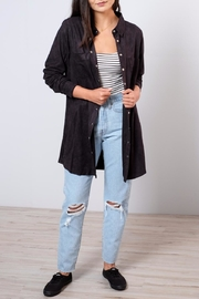 Very J Long Suede Shirt - Back cropped