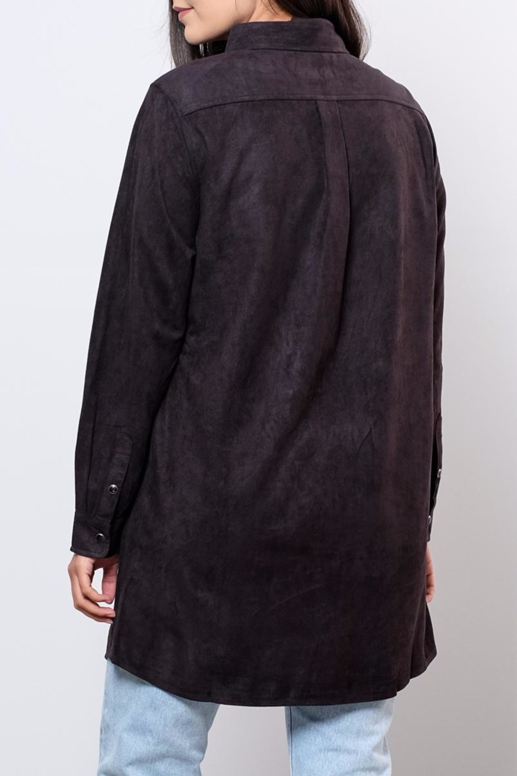 Very J Long Suede Shirt - Side Cropped Image