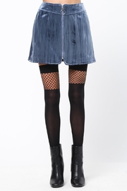Very J Navy Velvet Mini Skirt - Product Mini Image