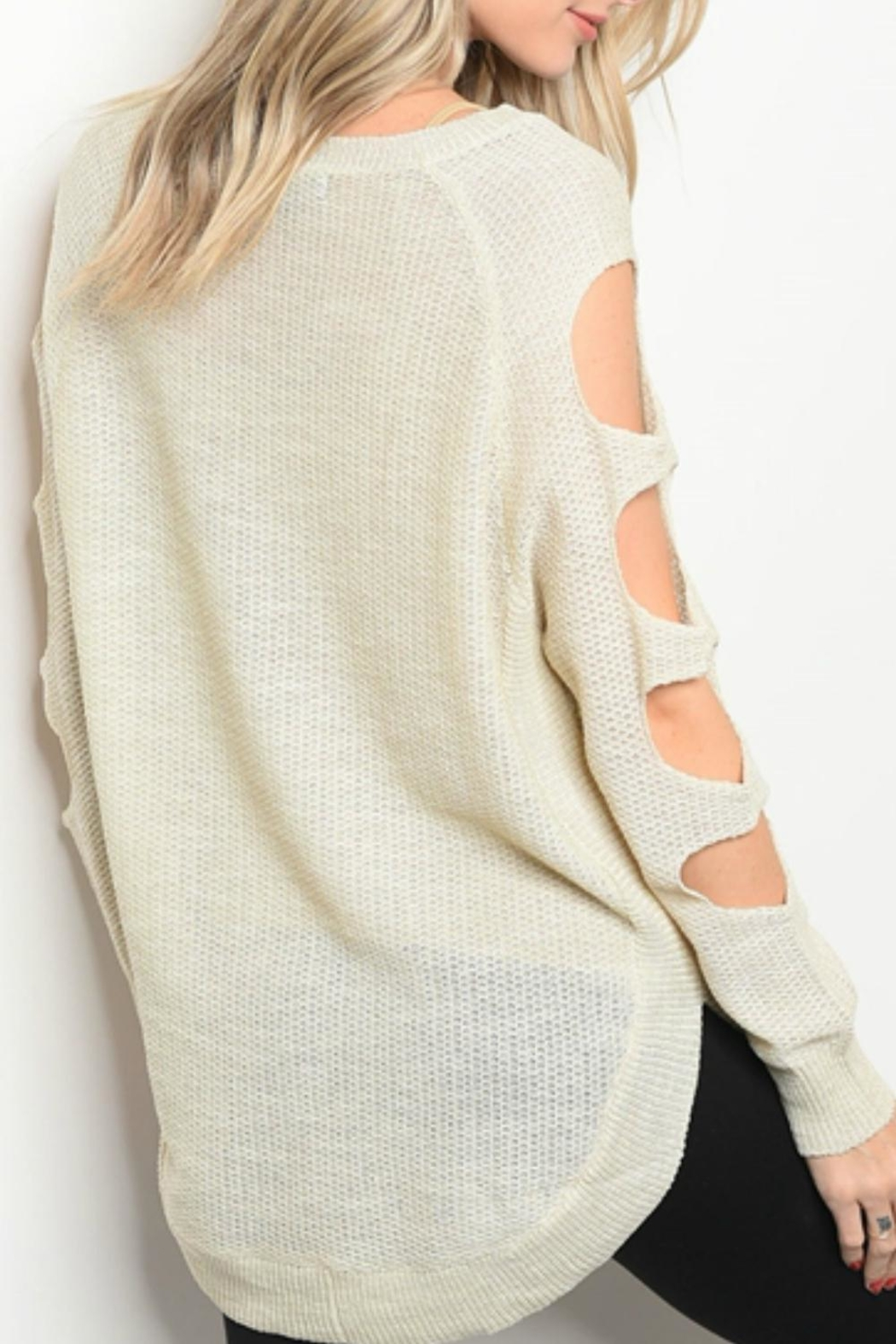 Very J Oatmeal Cut-Out Sweater - Side Cropped Image