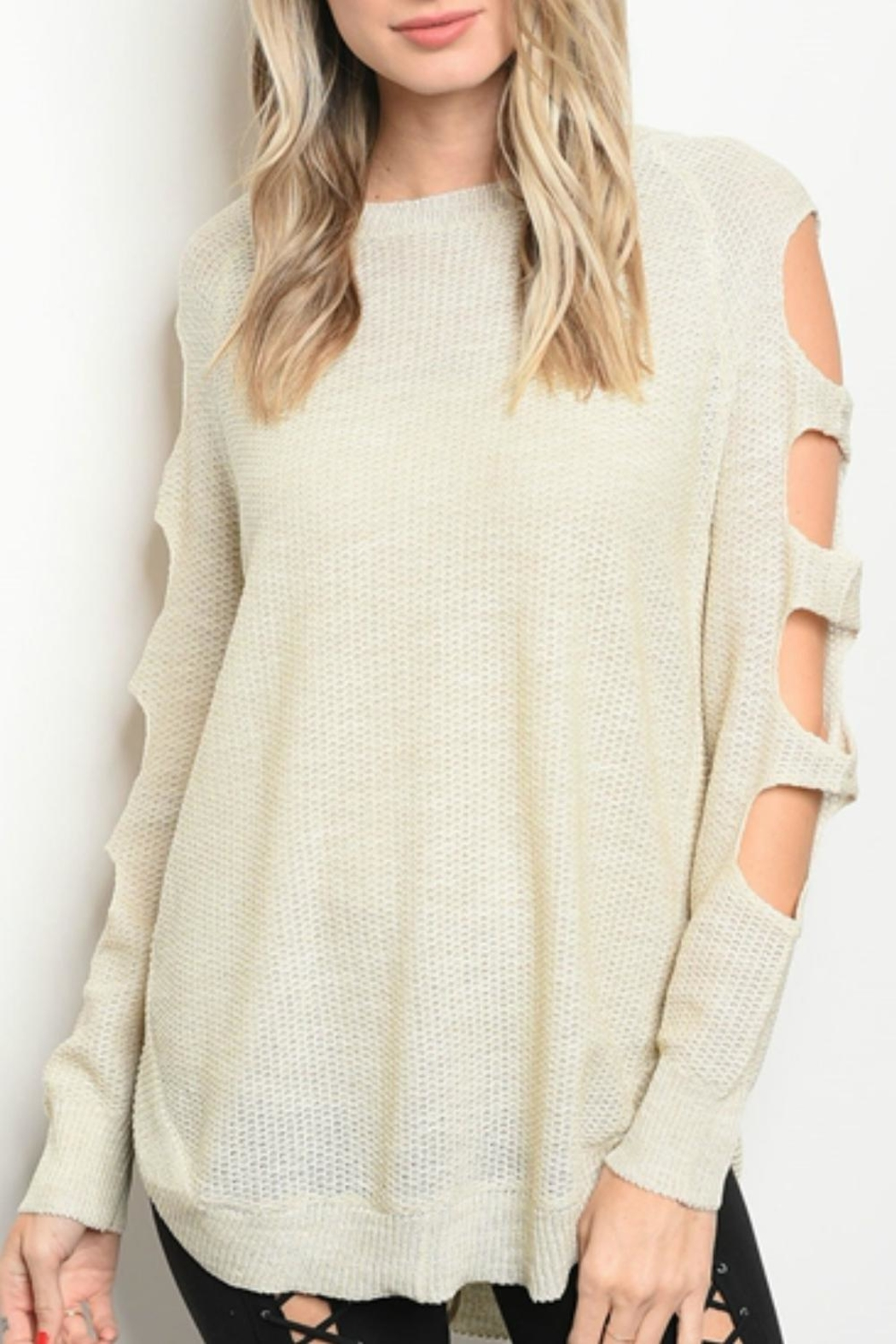 Very J Oatmeal Cut-Out Sweater - Main Image